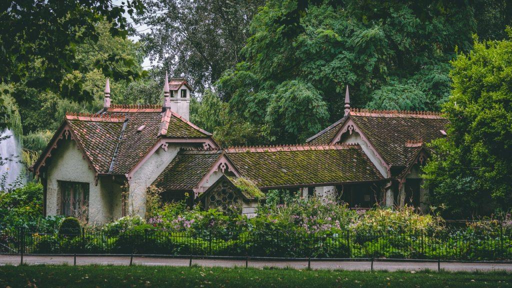 Maison avec mousse sur le toit